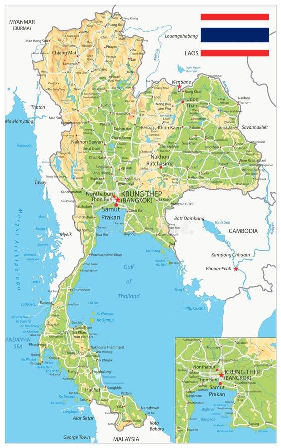 Mapa físico de Tailandia libre illustration