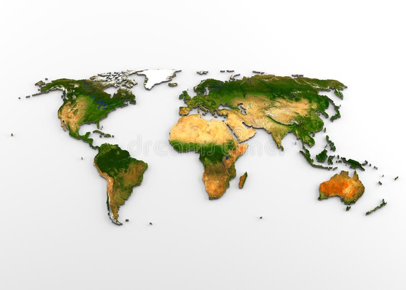 Mapa físico del mundo 3D con alivio stock de ilustración