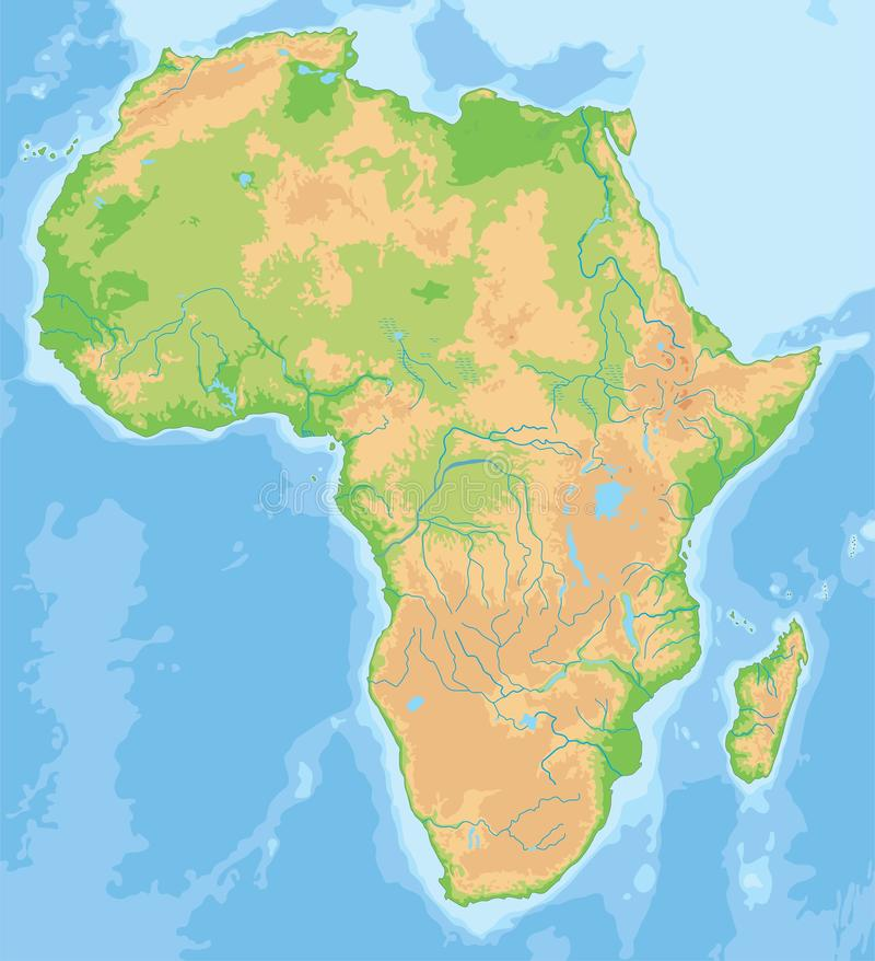 Mapa físico detalhado alto de África ilustração do vetor