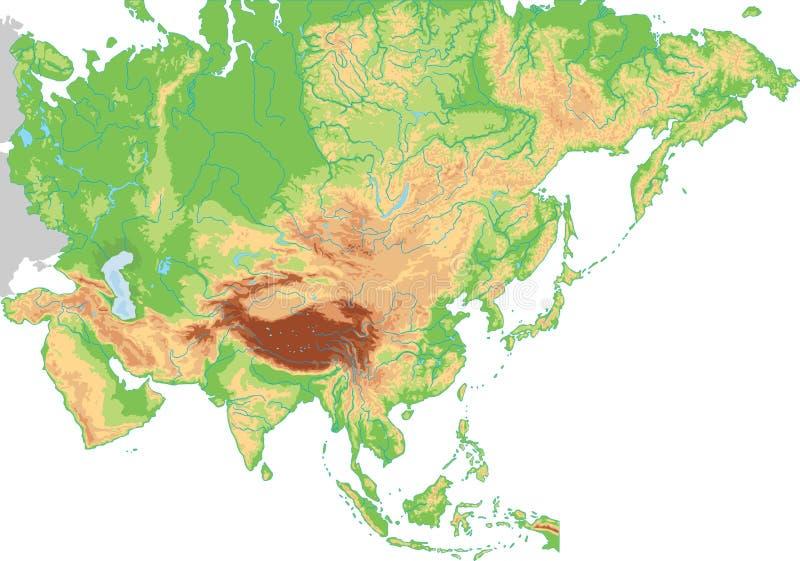 Mapa físico detalhado alto de Ásia ilustração royalty free