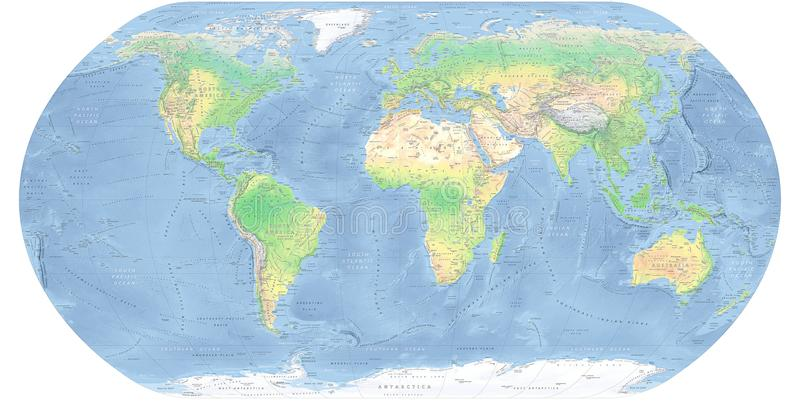 Mapa físico detallado del mapa del mundo fotografía de archivo libre de regalías