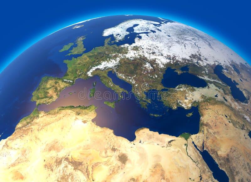 Mapa físico do mundo, da Europa e do Norte de África Globo hemisfério Relevos e oceanos ilustração royalty free