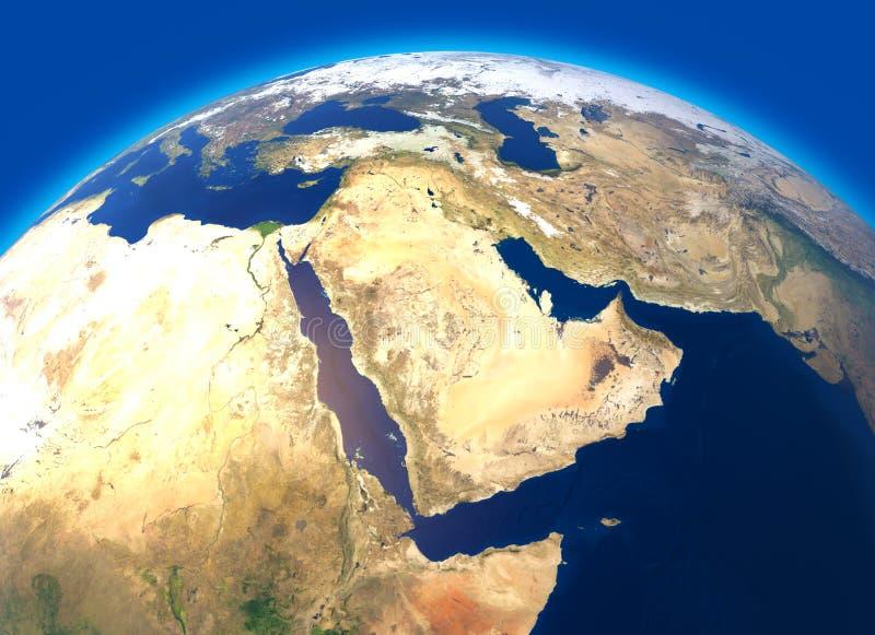 Mapa físico do mundo, vista satélite do Médio Oriente África, Ásia Globo hemisfério Relevos e oceanos ilustração royalty free