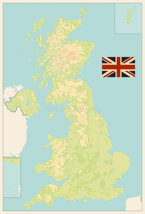 Mapa físico en blanco de Reino Unido Colores retros libre illustration