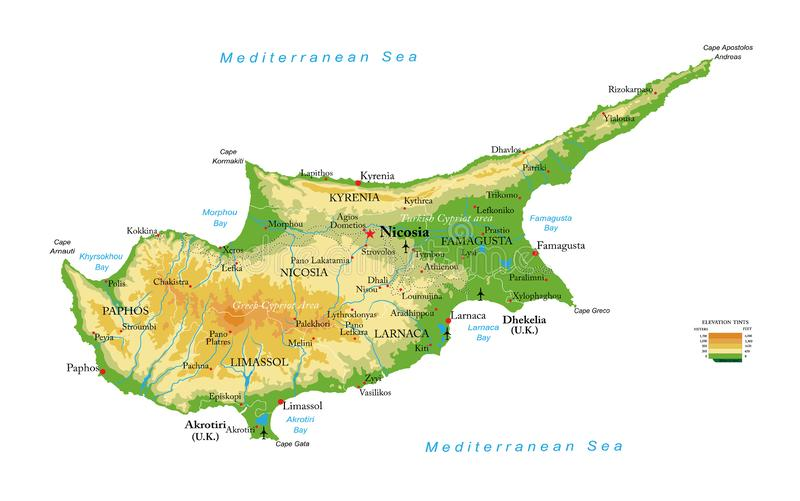Mapa f?sico de Chipre fotografia de stock