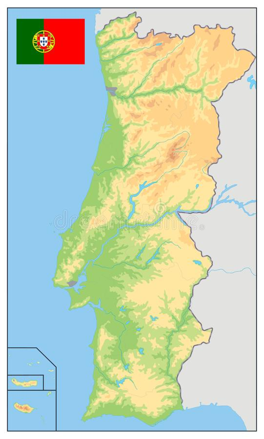 Mapa f?sico de Portugal NINGU?N texto stock de ilustración