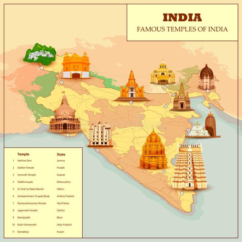 Mapa famoso del templo de la India ilustración del vector