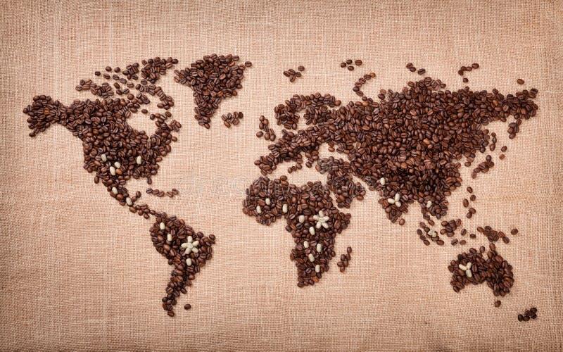 Mapa feito do café fotografia de stock royalty free