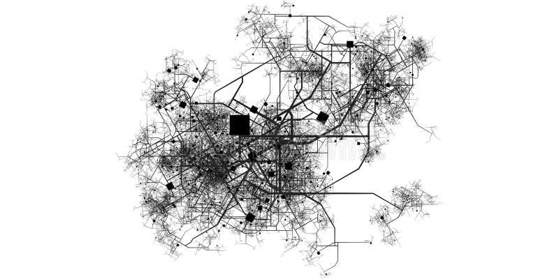 Mapa ficticio complejo de la ciudad libre illustration