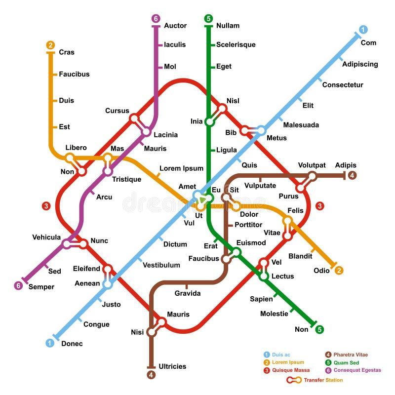 Mapa ficticio del metro ilustración del vector