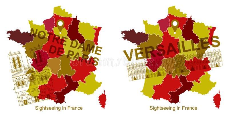 Mapa Francja z ikoną przyciągania, notre dame de paris i Versailles, royalty ilustracja
