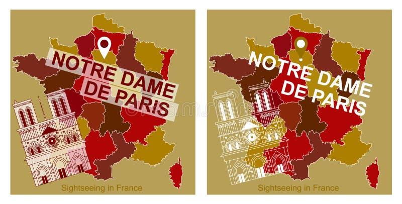 Mapa Francja z ikoną przyciągania, notre dame de paris ilustracji