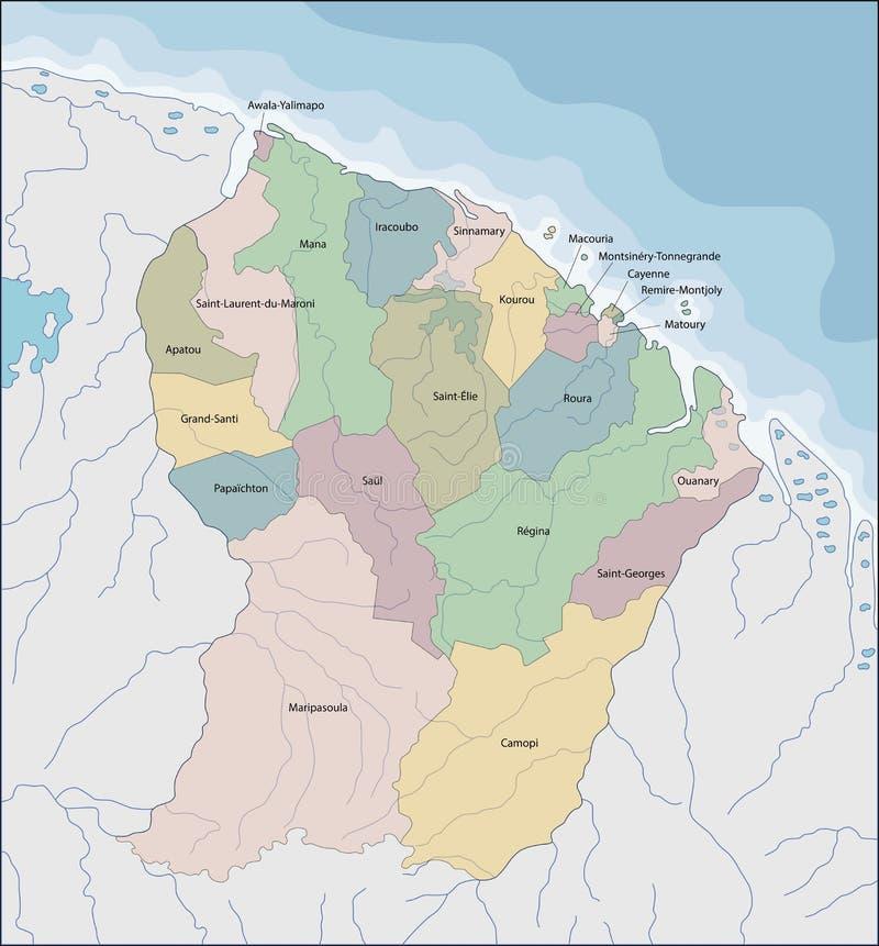 Mapa Francuski Guiana royalty ilustracja