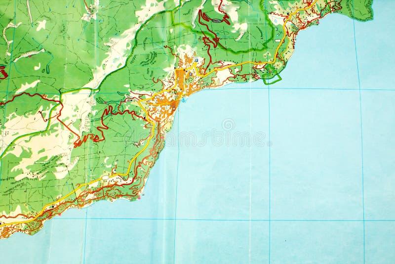 Mapa geográfico abstrato sem nomes Símbolo do planeamento do curso Vista superior fotografia de stock royalty free