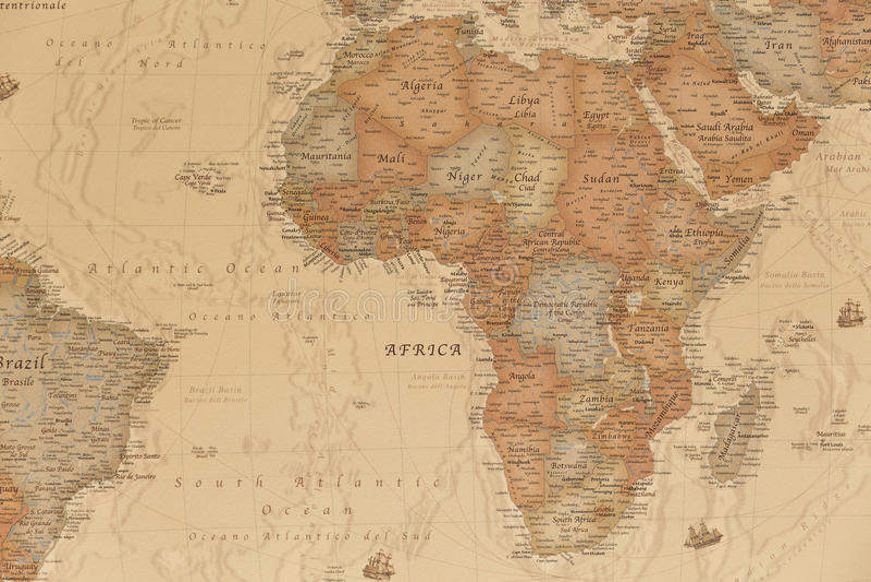 Mapa geográfico antigo de África fotografia de stock royalty free