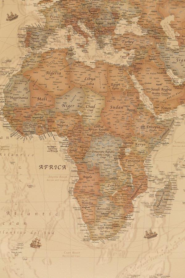 Mapa geográfico antigo de África foto de stock