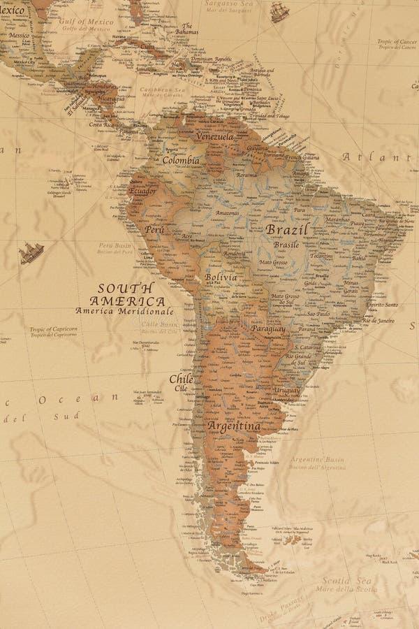 Mapa geográfico antigo de Ámérica do Sul imagem de stock