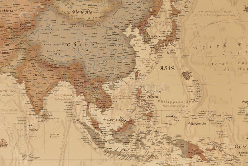 Mapa geográfico antigo de Ásia fotografia de stock royalty free