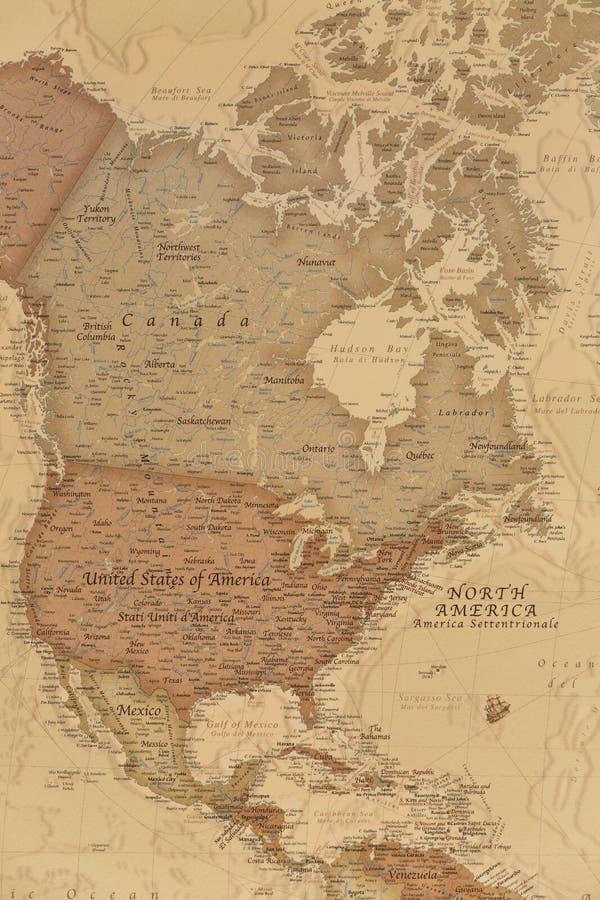Mapa geográfico antigo de America do Norte fotos de stock