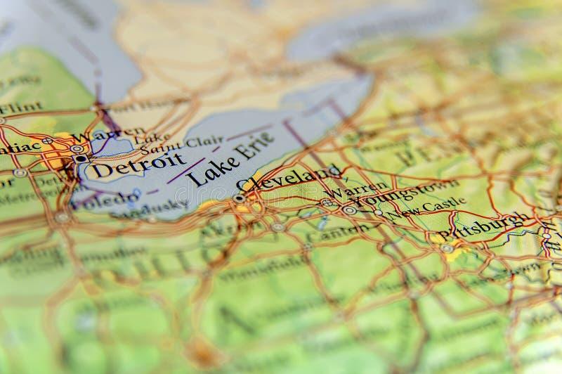 Mapa geográfico da cidade Detroit, Cleveland e Pittsburg novo c dos E.U. fotos de stock
