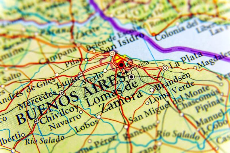 Mapa geográfico de Argentina com a cidade de Buenos Aires da capital imagens de stock royalty free