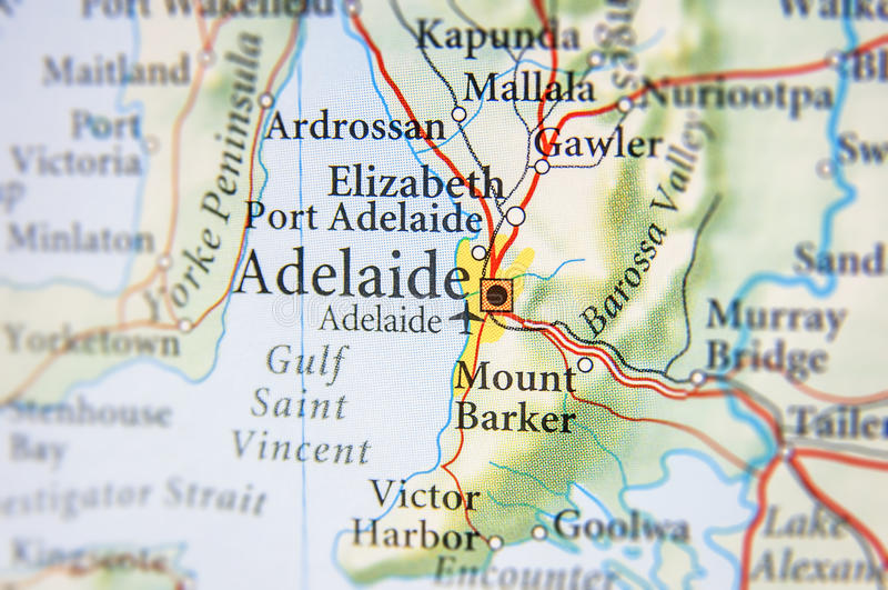 Mapa geográfico de Australia con la ciudad de Adelaide imagen de archivo libre de regalías