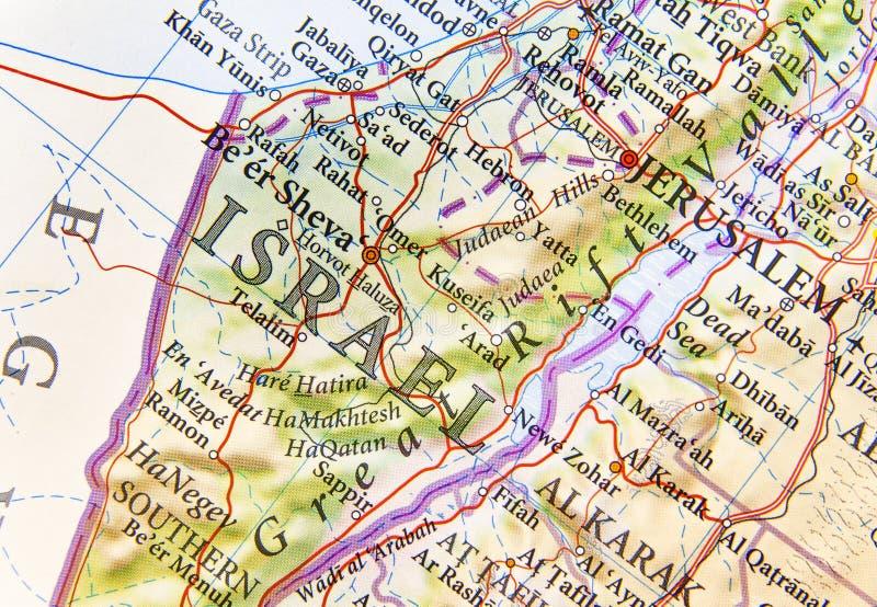 Mapa geográfico de Israel com cidades importantes fotos de stock royalty free