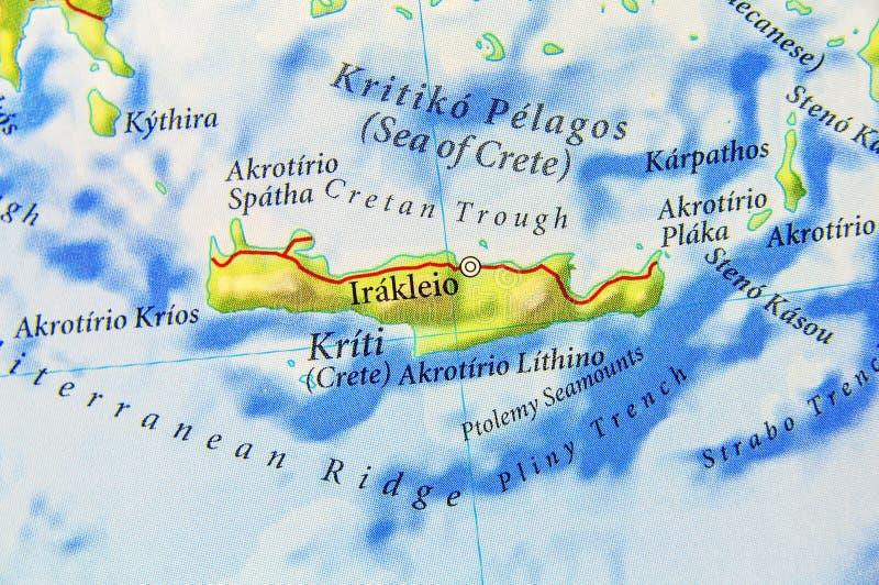 Mapa geográfico de la isla Creta de Grecia del europeo ilustración del vector