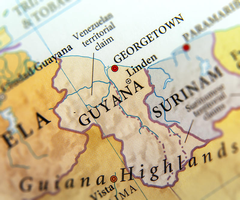 Mapa geográfico de los países de Guyana con las ciudades importantes foto de archivo libre de regalías