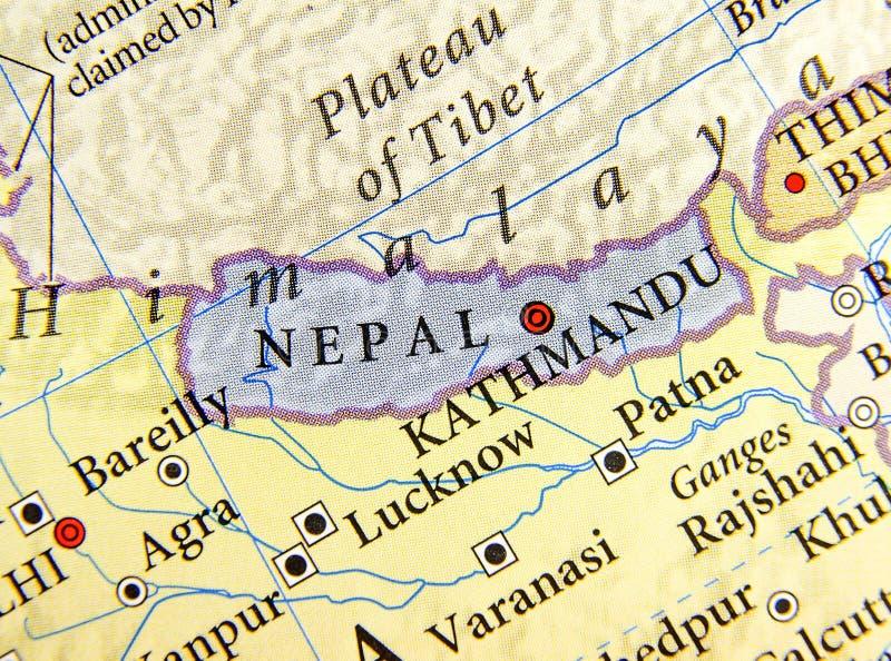 Mapa geográfico de Nepal con las ciudades importantes imagen de archivo libre de regalías
