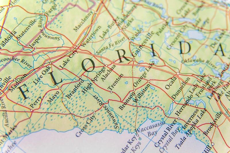 Mapa geográfico del cierre de la Florida del estado de los E.E.U.U. fotos de archivo libres de regalías