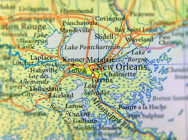 Mapa geográfico del cierre del estado de los E.E.U.U. Luisiana y de la ciudad de New Orleans imagenes de archivo