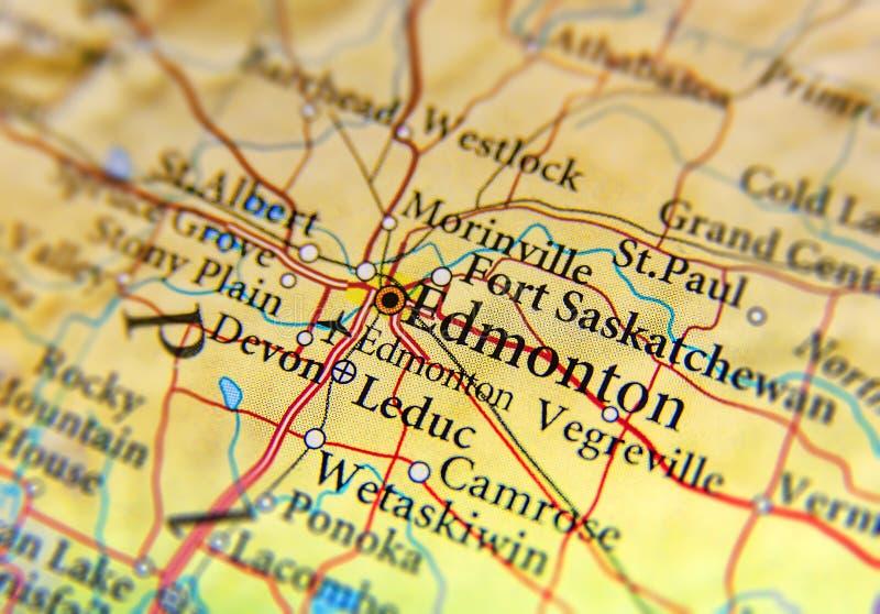 Mapa geográfico del estado Alberta de Canadá con el cierre de Edmonton fotografía de archivo libre de regalías