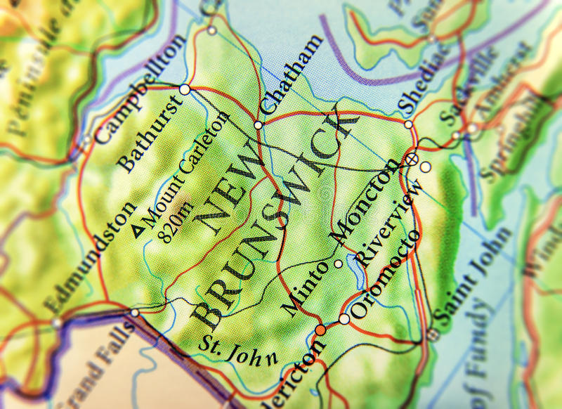 Mapa geográfico del estado Nuevo Brunswick de Canadá con las ciudades importantes imágenes de archivo libres de regalías