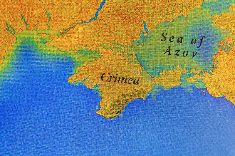 Mapa geográfico del europeo Crimea y mar de Azov stock de ilustración