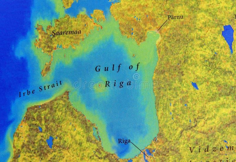 Mapa geográfico del golfo europeo de Riga ilustración del vector