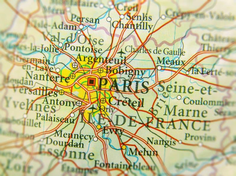 Mapa geográfico del país europeo Francia con la capital CIT de París fotos de archivo