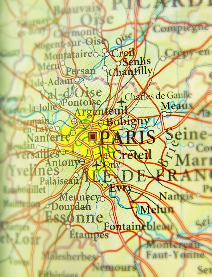 Mapa geográfico del país europeo Francia con la capital CIT de París foto de archivo