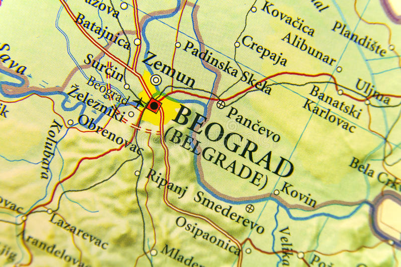 Mapa Geografico Del Pais Europeo Serbia Con La Ciudad De Belgrado