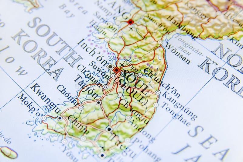 Mapa geográfico do capital Seul de Coreia do Sul fotos de stock royalty free