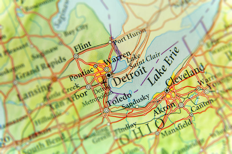Mapa geográfico do estado de E.U. Michigan e da cidade de Detroit fotografia de stock royalty free