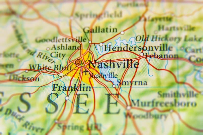 Mapa geográfico do fim de Nashville fotos de stock royalty free