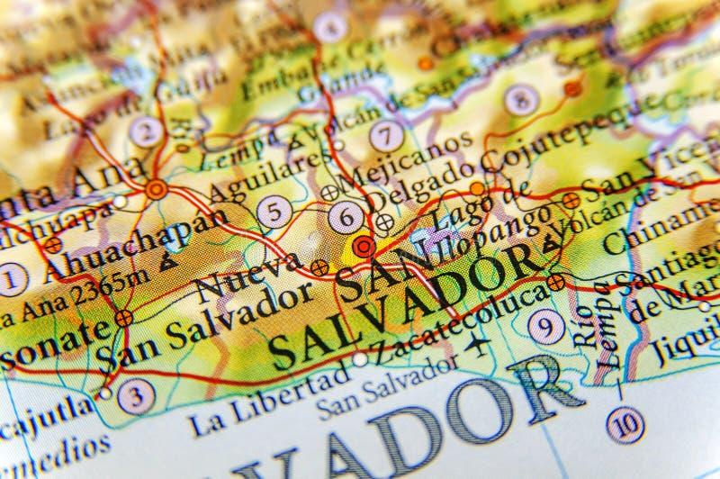 Mapa geográfico do fim do San Salvador da cidade de El Salvador fotos de stock