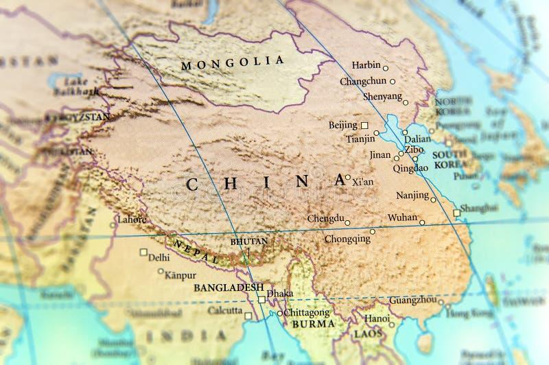Mapa geográfico do país de China com cidades importantes imagens de stock