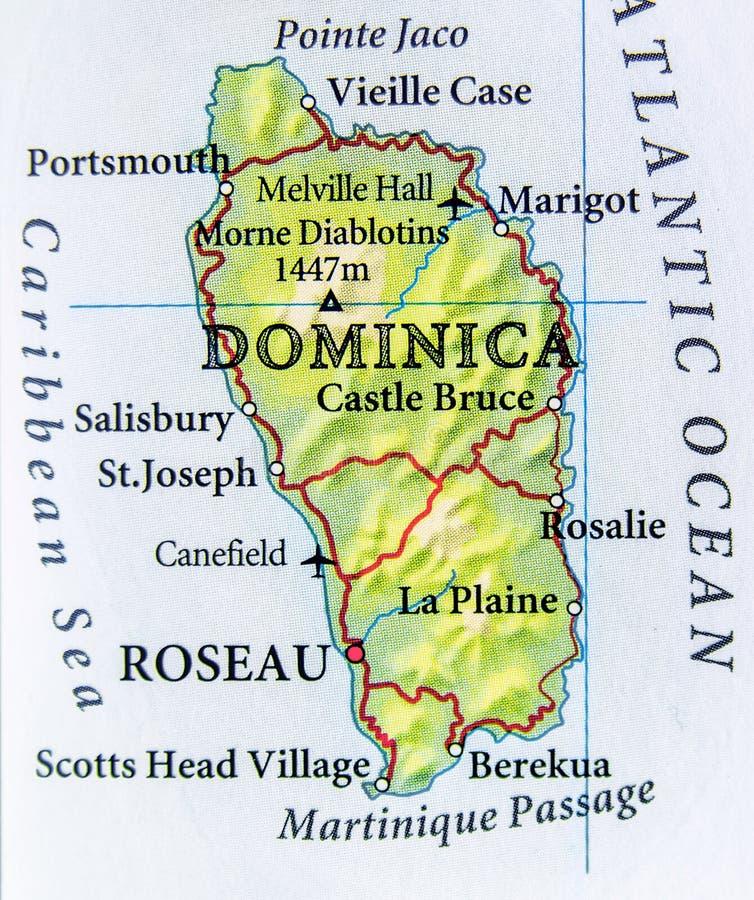 Mapa geográfico do país de Domínica com cidades importantes imagens de stock royalty free
