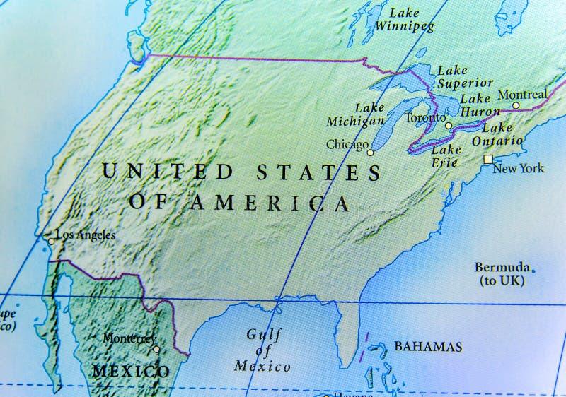 Mapa geográfico do país dos EUA com cidades importantes imagem de stock royalty free