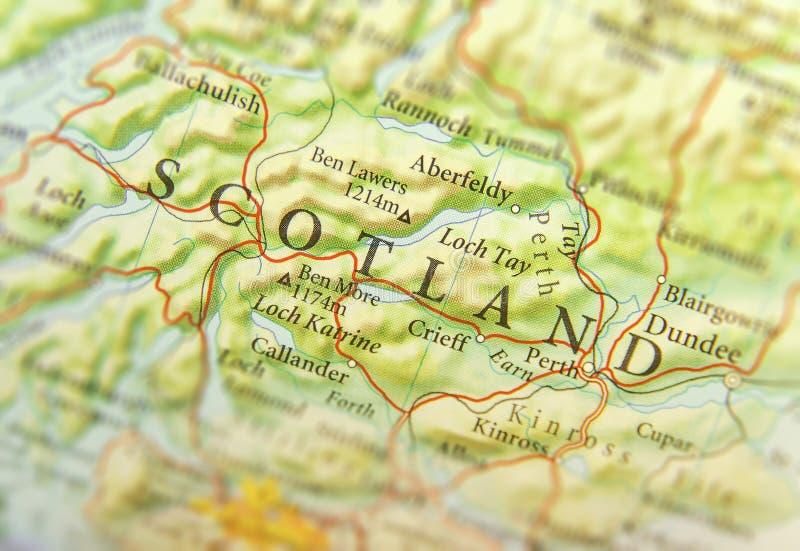 Mapa geográfico do país europeu Escócia com cidades importantes fotografia de stock