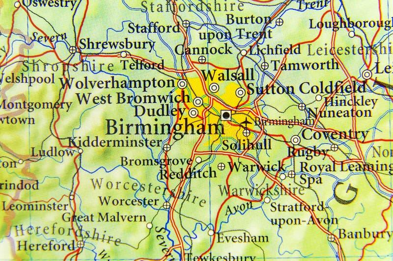 Mapa geográfico do país europeu Reino Unido com cidade de Birmingham imagens de stock