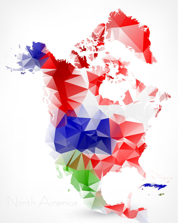 Mapa geométrico poligonal abstrato de America do Norte ilustração royalty free