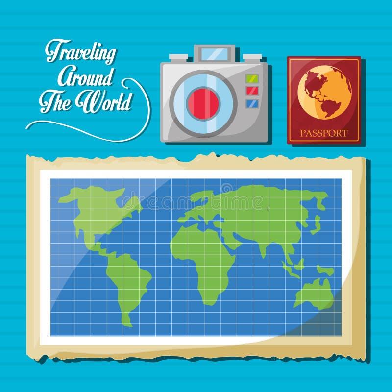 Mapa global com câmera e passaporte ilustração royalty free